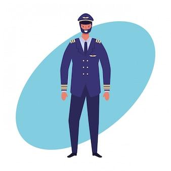 Airliner pilot jobs und beruf hand zeichnen