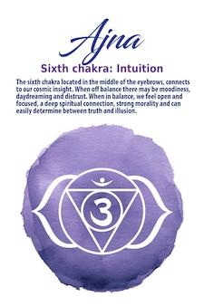 Ajna chakra-symbol auf indigo-aquarellpunkt. das dritte-auge-chakra