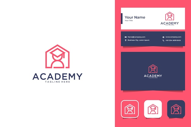 Akademie mit logo-design und visitenkarte des house line art-stils