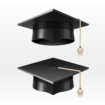 Akademische abschlusskappen der universität mit quastenillustration. abschlusshut für zeremonie