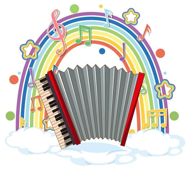 Akkordeon mit melodiesymbolen auf regenbogen