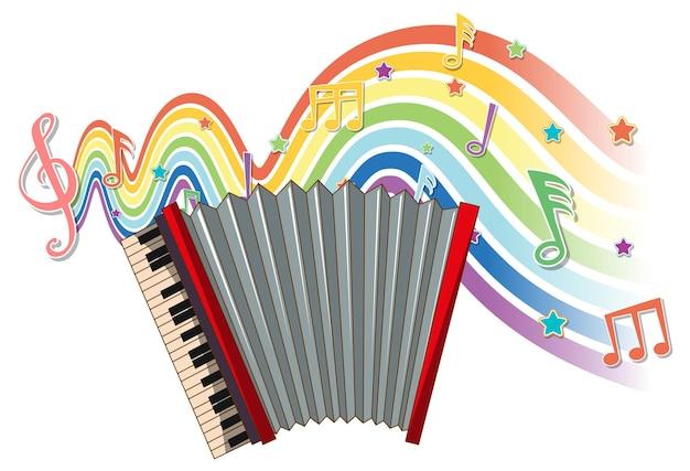 Akkordeon mit melodiesymbolen auf regenbogenwelle