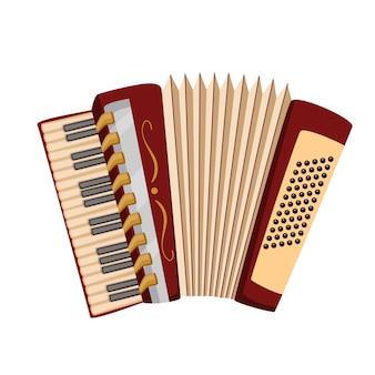 Akkordeon, musikinstrument des bierfestes oktoberfest. vektor-illustration.