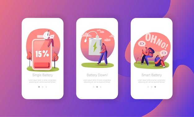 Akku-ladevorgang für kabelloses laden der mobilen app-seitenbildschirmvorlage.