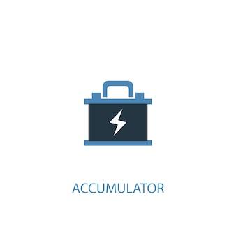 Akkumulatorkonzept 2 farbiges symbol. einfache blaue elementillustration. akkukonzept symboldesign. kann für web- und mobile ui/ux verwendet werden