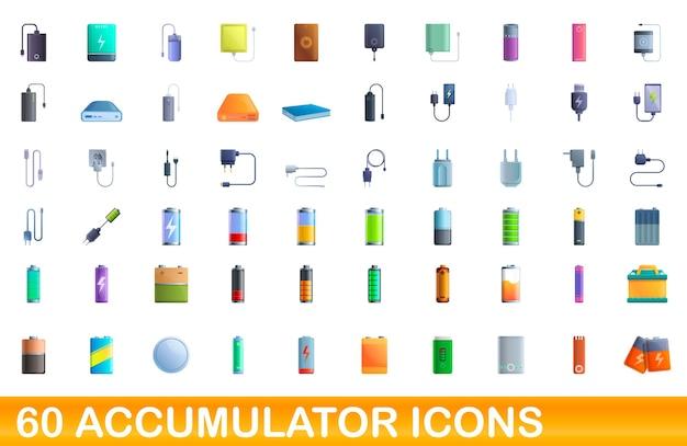 Akkusymbole eingestellt. karikaturillustration der akkumulatorsymbole, die auf weißem hintergrund gesetzt werden