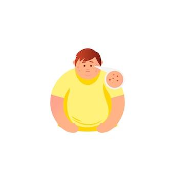 Akne-typen und mann mit akne im gesicht er fühlt stress