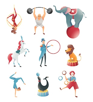 Akrobaten mit tieren im zirkus