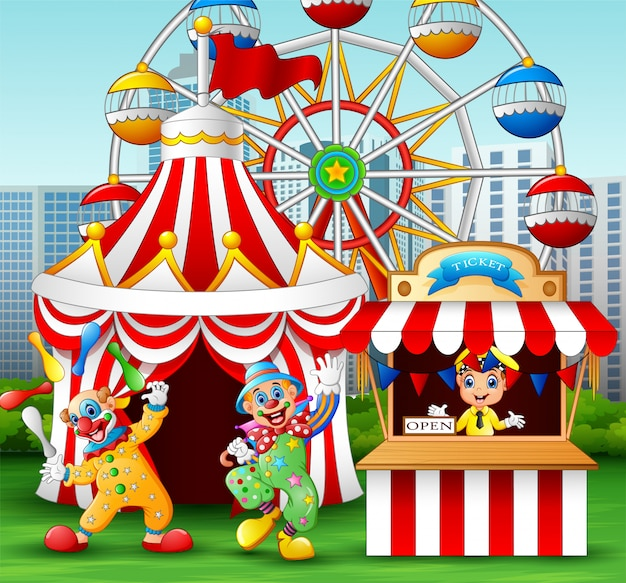 Akrobatische leistung der karikaturclownshow am vergnügen