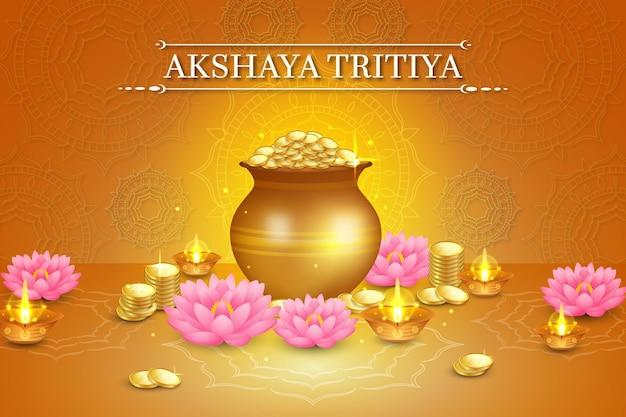 Akshaya tritiya ereignisillustration mit goldenen münzen und lotusblumen Premium Vektoren