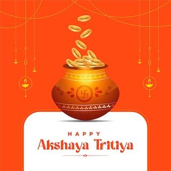 Akshaya tritiya festivalgrußkarte auf orange hintergrund