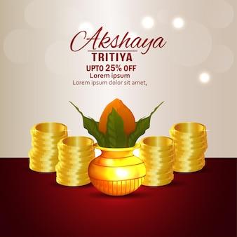 Akshaya tritiya verkaufsförderung hintergrund mit goldmünze und kalash