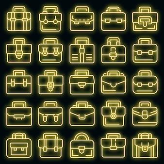 Aktenkoffer icons set vektor neon