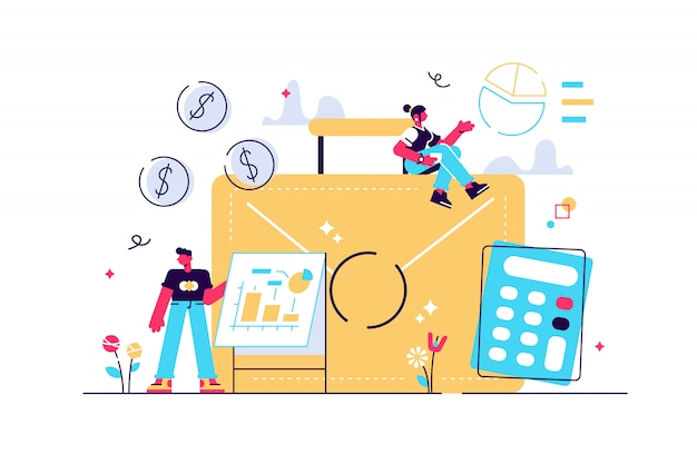 Aktentasche, taschenrechner und buchhalter arbeiten mit grafiken und laptop. buchhaltungs-, finanzanalyse- und planungskonzept auf weißem hintergrund. helle lebendige violette isolierte illustration