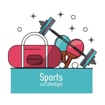 Aktentasche und hantel und tischtennisschläger