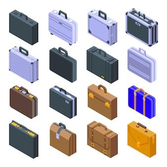 Aktentaschen-symbole eingestellt. isometrischer satz von aktentaschen-symbolen für das web