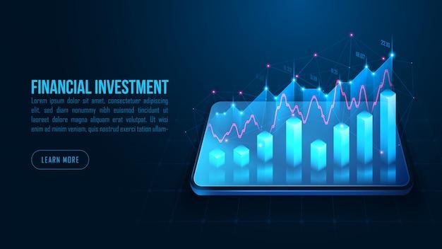Aktien- oder devisenhandelsgraph auf smartphone im futuristischen hintergrundkonzept