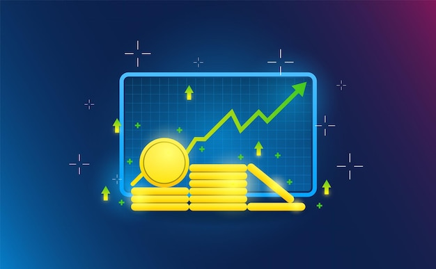 Aktiendefi-währungssymbol auf futuristischer konzeptillustration des gitterhintergrunds