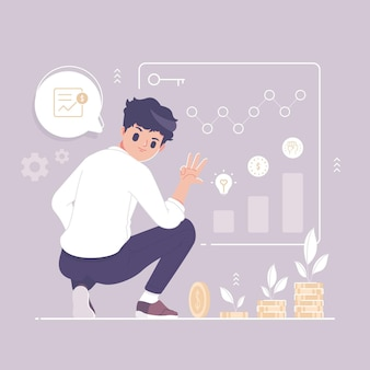 Aktieninvestition mit geschäftsmanncharakterillustration