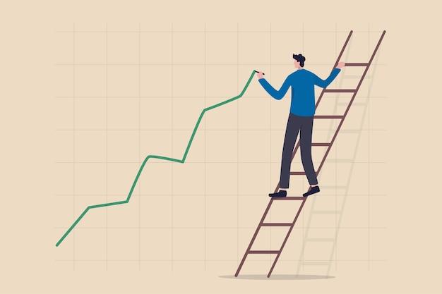 Aktienkurswachstum, steigender oder steigender vermögenspreis, zinsbullischer aktienmarkt oder konjunkturkonzept, selbstbewusster geschäftsmann, der die leiter hinaufsteigt, um ein grünes diagramm mit steigenden investitionslinien zu zeichnen.