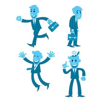 Aktion des karikaturgeschäftsmannes vier, gehend, müde, froh, lösen