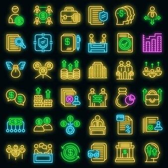 Aktionärssymbole gesetzt. umrisse von aktionärsvektorsymbolen neonfarbe auf schwarz