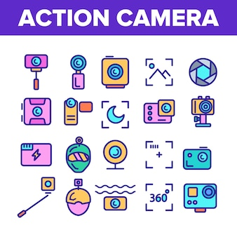 Aktionskamera-zeichen-ikonen eingestellt