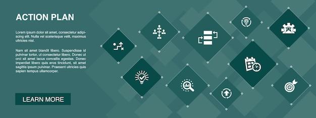 Aktionsplanbanner 10 symbole konzept.verbesserung, strategie, implementierung, analyse einfache symbole