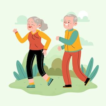 Aktive ältere menschen, die im park laufen