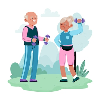 Aktive ältere menschen illustriert
