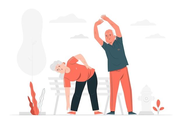 Aktive ältere menschen konzeptillustration