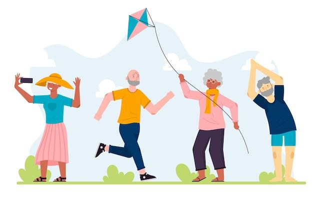 Aktive ältere menschen mit flachem design