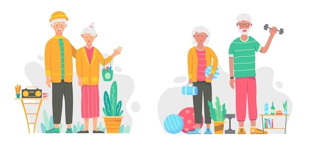 Aktive ältere menschen packen flaches design