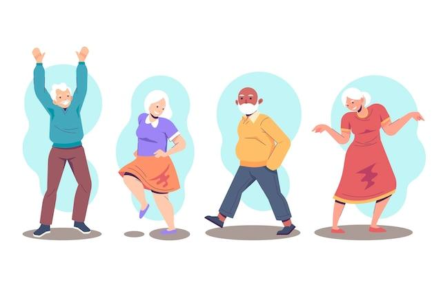 Aktive ältere menschen packen
