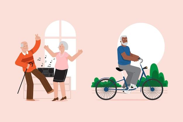 Aktive ältere menschen setzen