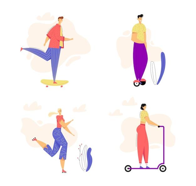 Aktive charaktere im modernen stadtverkehrsset. junger mann, der skateboard reitet.