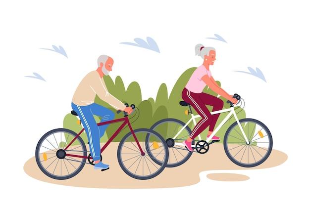 Aktive erwachsene familienmenschen der karikatur, die fahrrad fahren