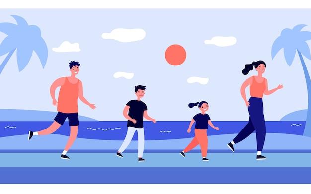 Aktive familie läuft auf strandillustration
