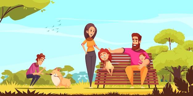 Aktive familienferien elternkinder und hund im sommerpark auf hintergrundkarikatur des blauen himmels