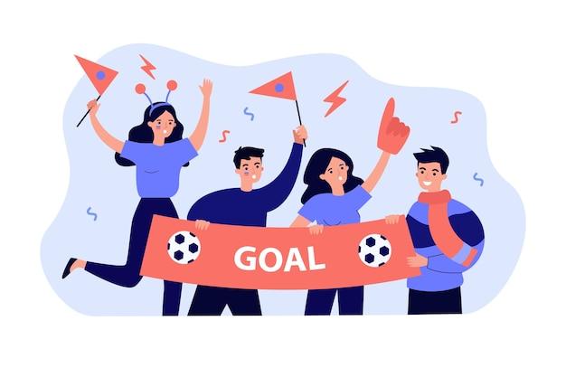 Aktive fußballfans, die banner lokalisierte flache illustration halten
