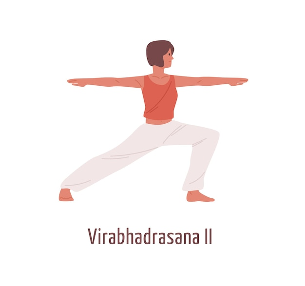 Aktive karikaturfrau, die virabhadrasana ii position lokalisiert auf weiß übt