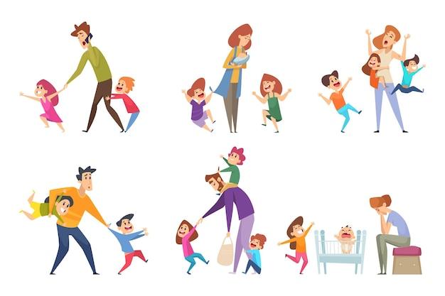 Aktive kinder. eltern spielen mit kindern