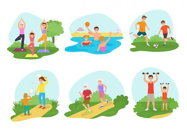 Aktive menschen der familie workout übung vektor mama oder papa charakter und kinder zusammen trainieren
