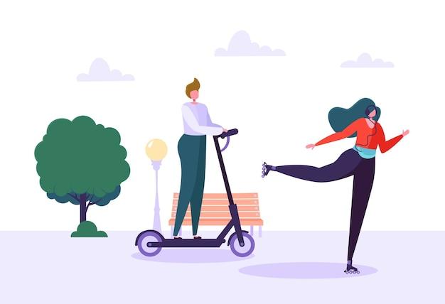 Aktive menschen im bereich öko-transport. junge frau charakter rollschuhlaufen im stadtpark. mann, der elektroroller reitet. gesunder lebensstil.