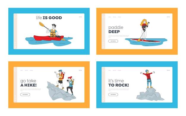 Aktive menschen im freien spaß landing page template tourismus set