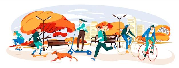 Aktive menschen im stadtpark herbst im freien aktive charaktere des mannes und der frau, die fahrrad fahren und h