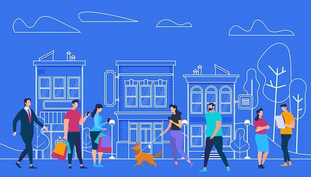 Aktive menschen lifestyle. stadtansicht und häuser