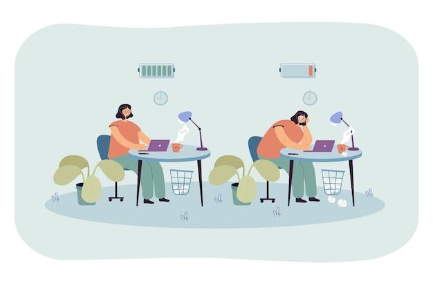 Aktive oder erschöpfte frau, die im büro arbeitet. flache abbildung