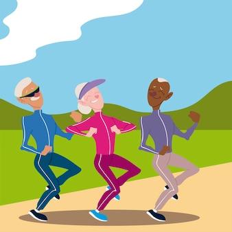 Aktive senioren, alte leute, die in der parkillustration joggen