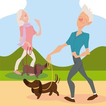 Aktive senioren, alter mann und frau, die mit hundeillustration gehen